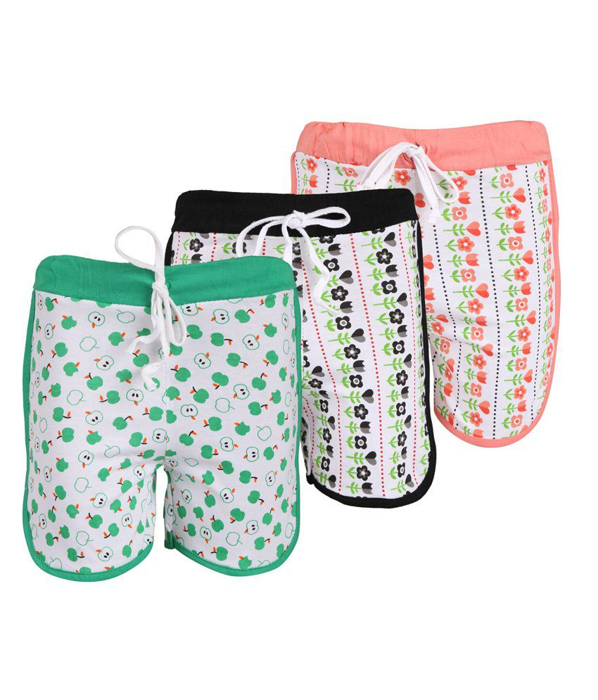 Weecare Multicolour Cotton Shorts - Pack of 3