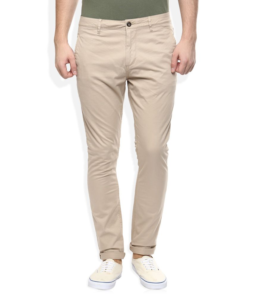 Breakbounce Beige Slim Fit Casuals Chinos