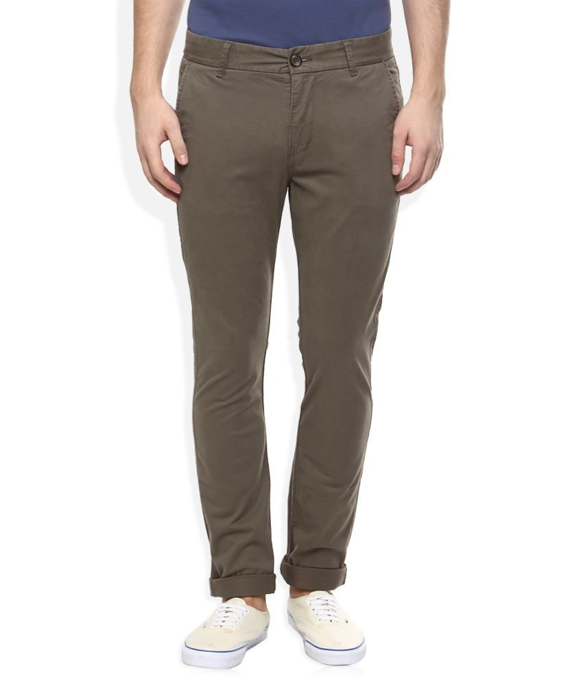 Breakbounce Brown Slim Fit Casuals Chinos