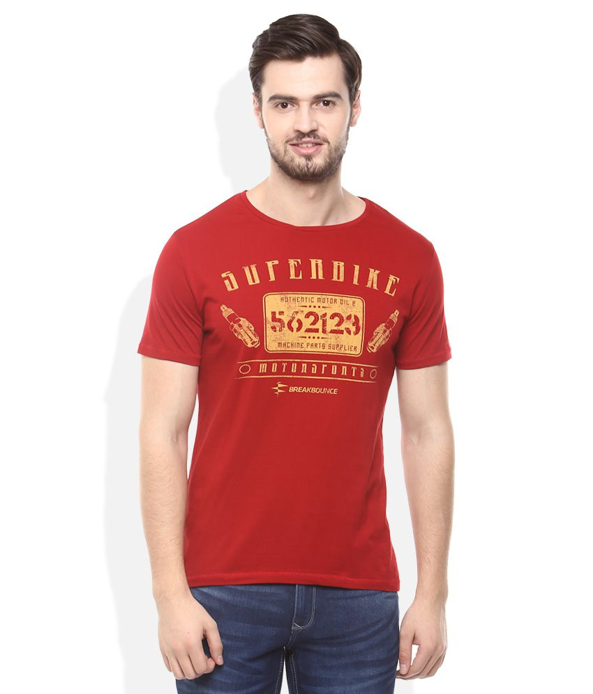 Breakbounce Red Round Neck Half Sleeves Printed T-Shirt