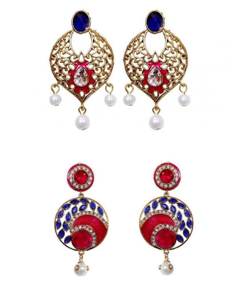 Dadu Diamonds Alloy Gold Plating Cubiz Zirconia Studded Multi Coloured Earrings Combo