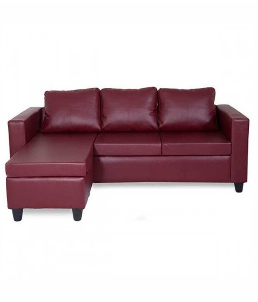 Elegant Furniture: Elegant Furniture Deco L Shape Sofa In Maroon