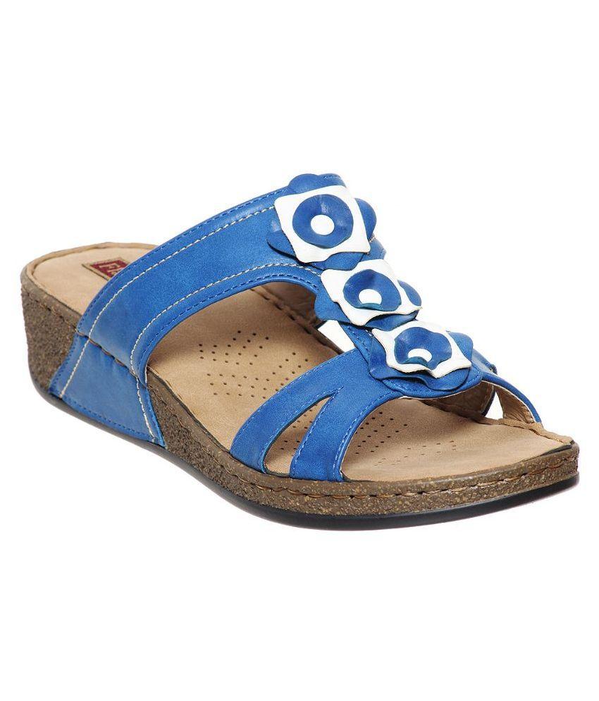 Flat n Heels Blue Slippers
