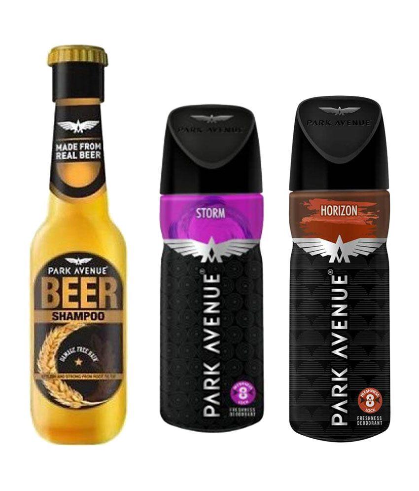 Park Avenue Beer Shampoo Damage Free Hair, Storm, Horizon Deodorant (Pack  of 3)