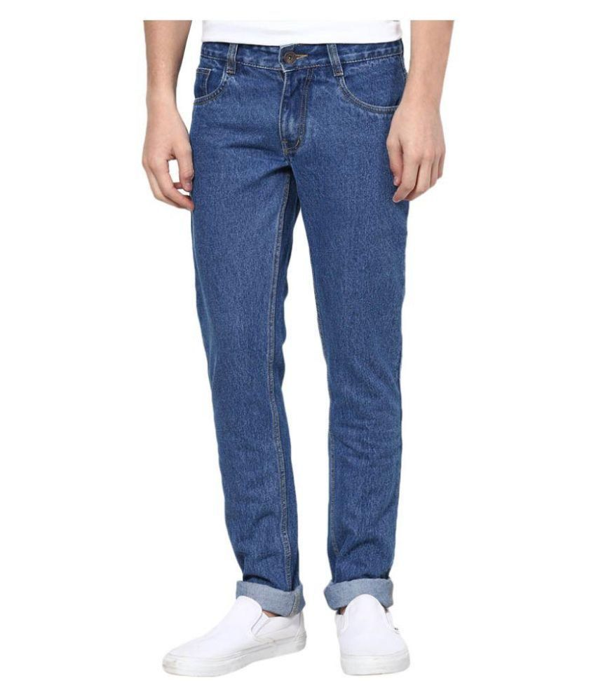 UK Blue Blue Regular Fit Washed Jeans
