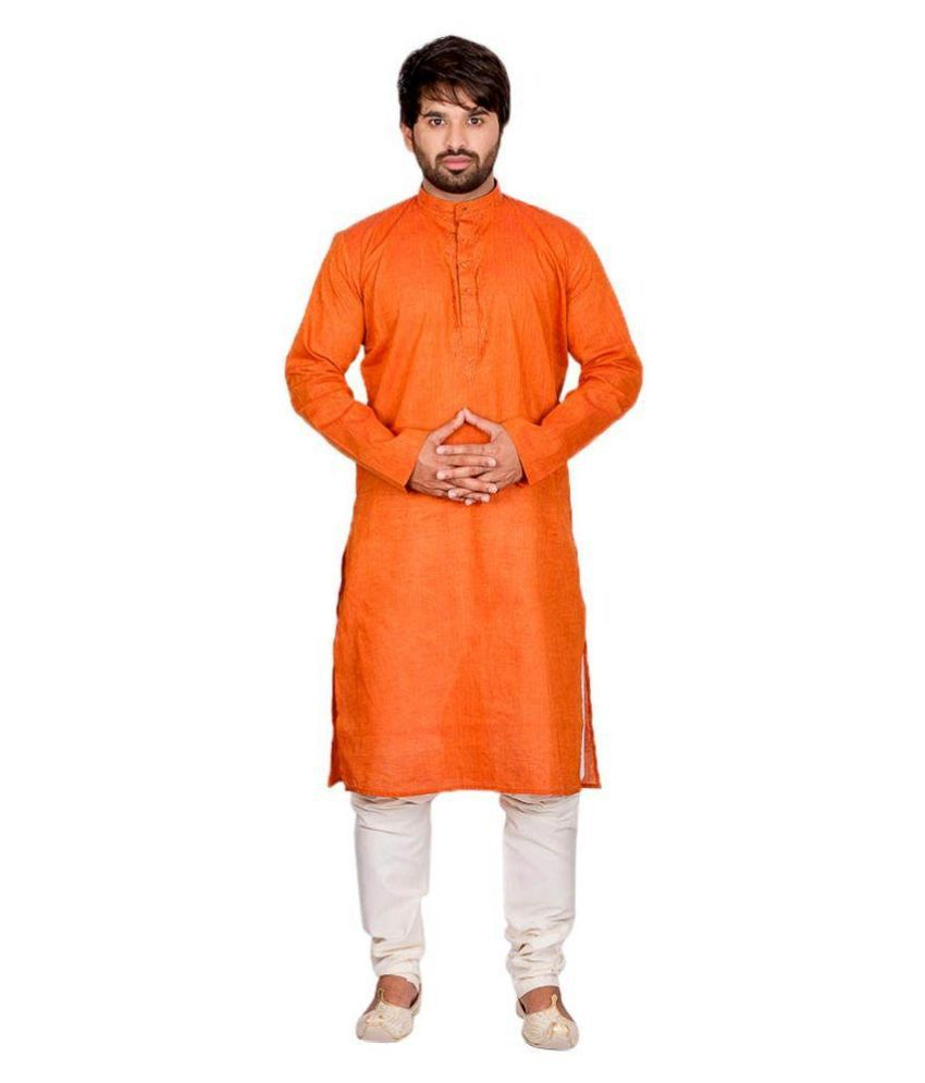 Ethiic Orange Kurta Pyjama Set