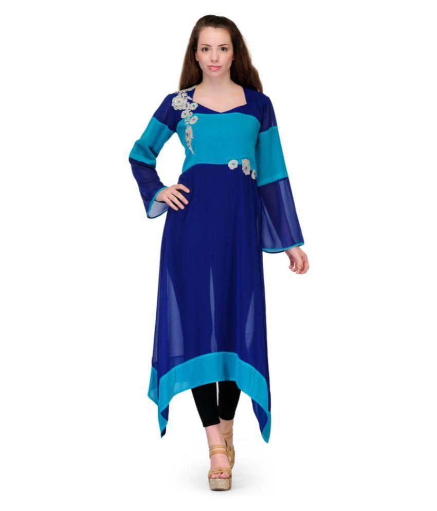 Fashion Walk Blue Faux Organza Asymmetrical Hemline Kurti