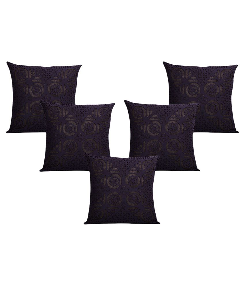 ExclusiveLane Navy Contemporary Cotton Cushion Covers - Set of 5