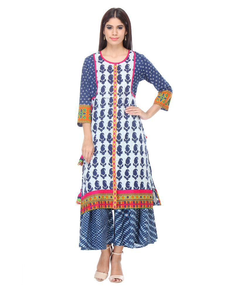 Riti Riwaz Multicoloured Cotton Kurti with Palazzo
