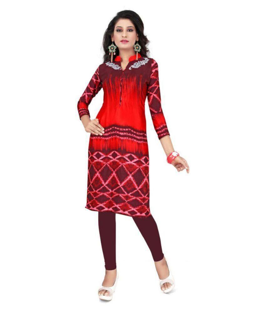Yaksh Fashion Red Crepe Straight Kurti