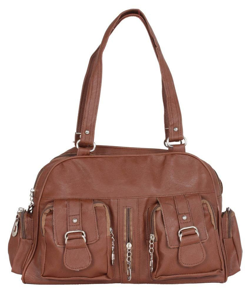 Greentree Brown Faux Leather Shoulder Bag