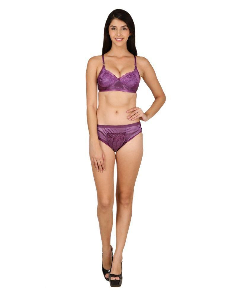 ceb3fd10e7dc Buy Theoowls Purple Satin Bra & Panty Sets Online at Best Prices in India -  Snapdeal