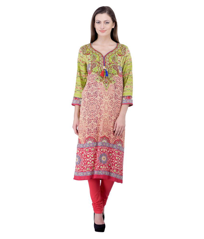 Laabha Multicoloured Rayon Straight Kurti