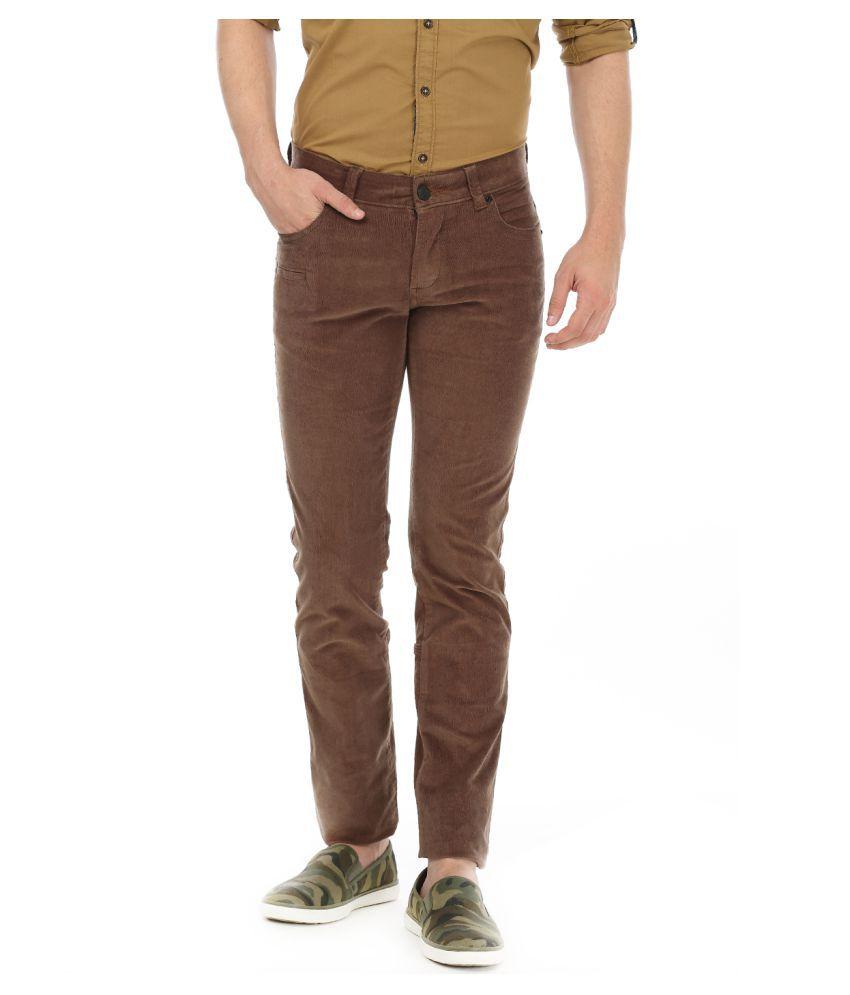 Basics Brown Skinny Flat Trouser