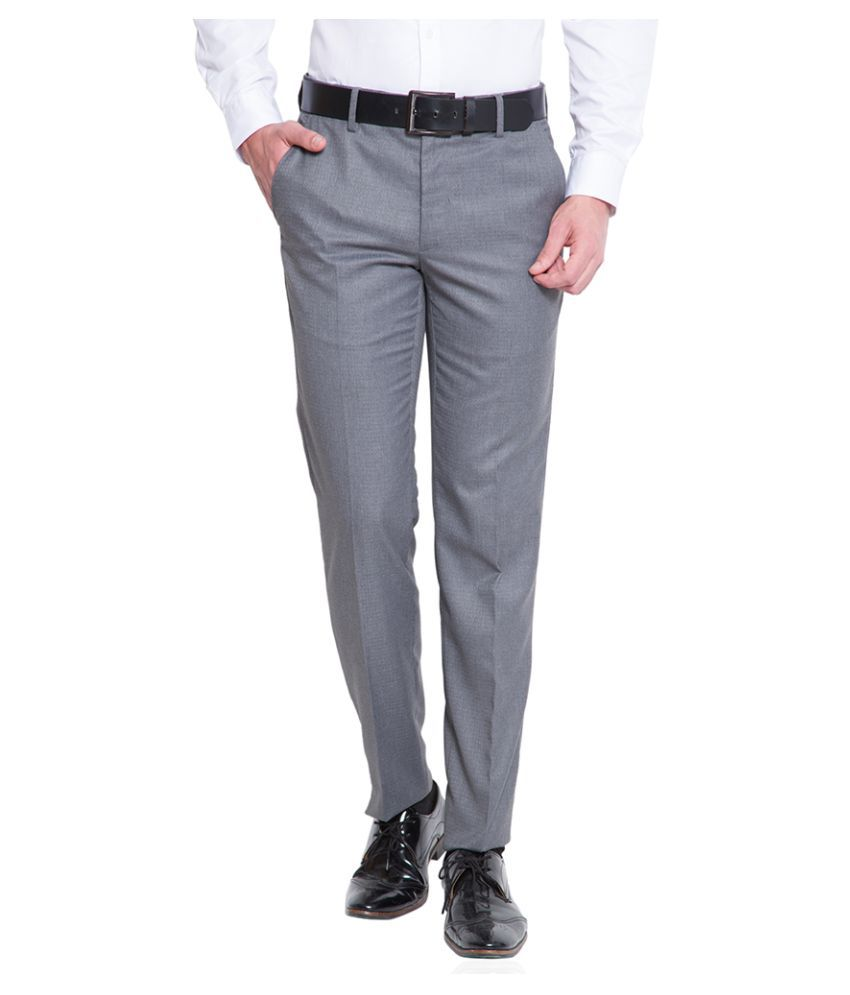 Black Coffee Grey Tapered Flat Trouser