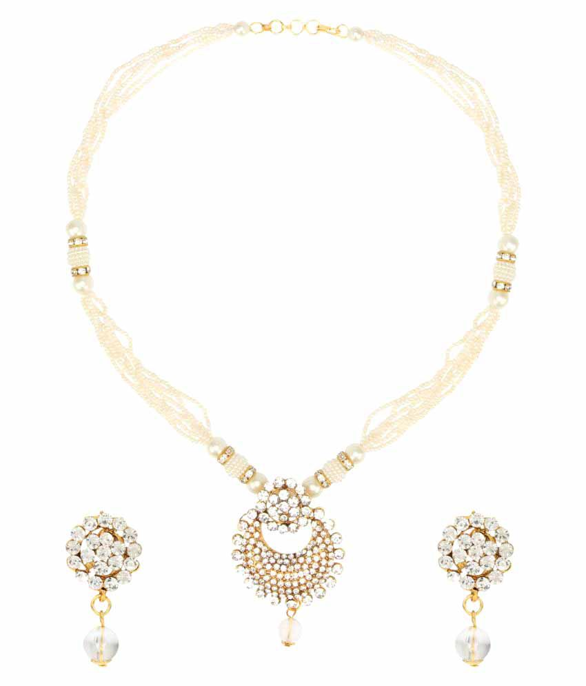 Dancing Girl White Alloy Necklace Set