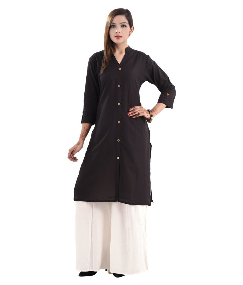 Era Fashion Black Cotton A-line Kurti
