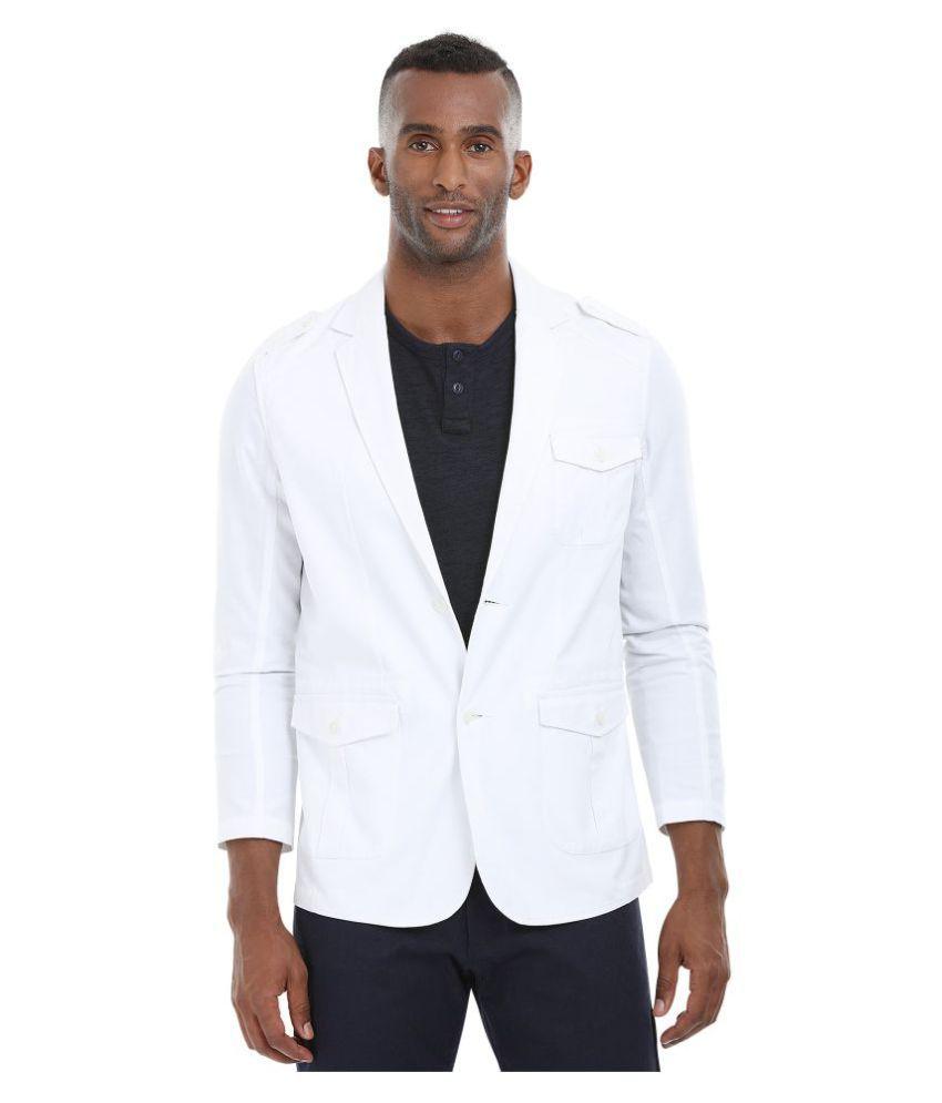 Zobello White Solid Casual Blazers