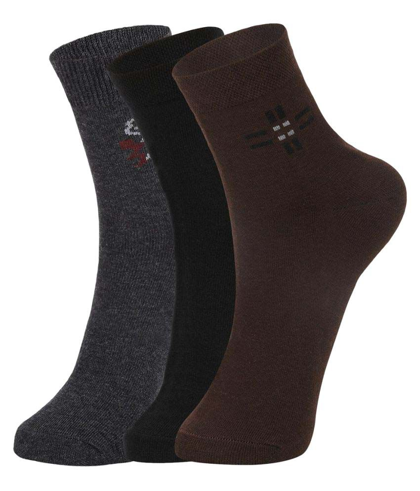 Dukk Multi Casual Mid Length Socks - Pack of 3