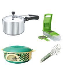 Grind Sapphire Multicolour PVC Combo Of Pressure Cooker, Apex Chopper,Casserole And Tong