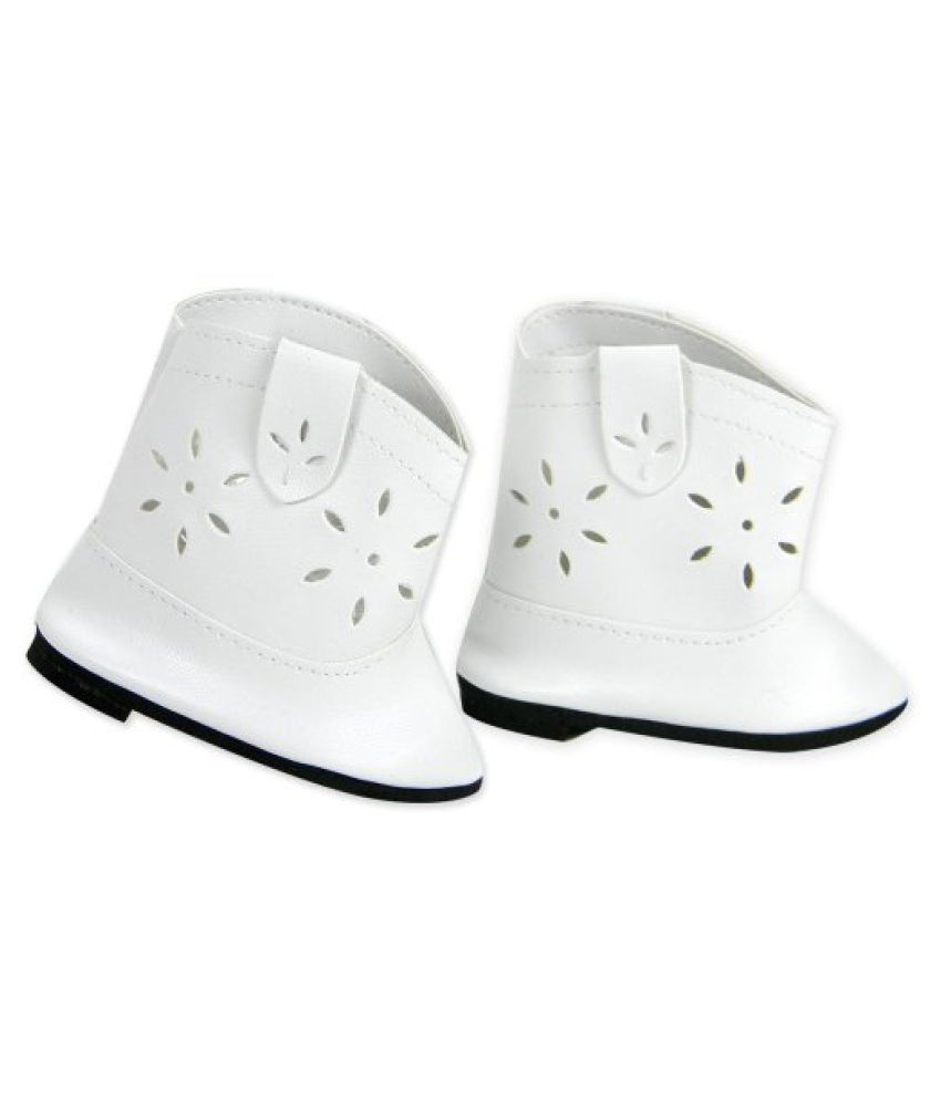 22809cf89a50a Doll Cowgirl Boots in White, Doll Shoes Fits 18 Inch Dolls like American  Girl, White Cowgirl Doll Boots
