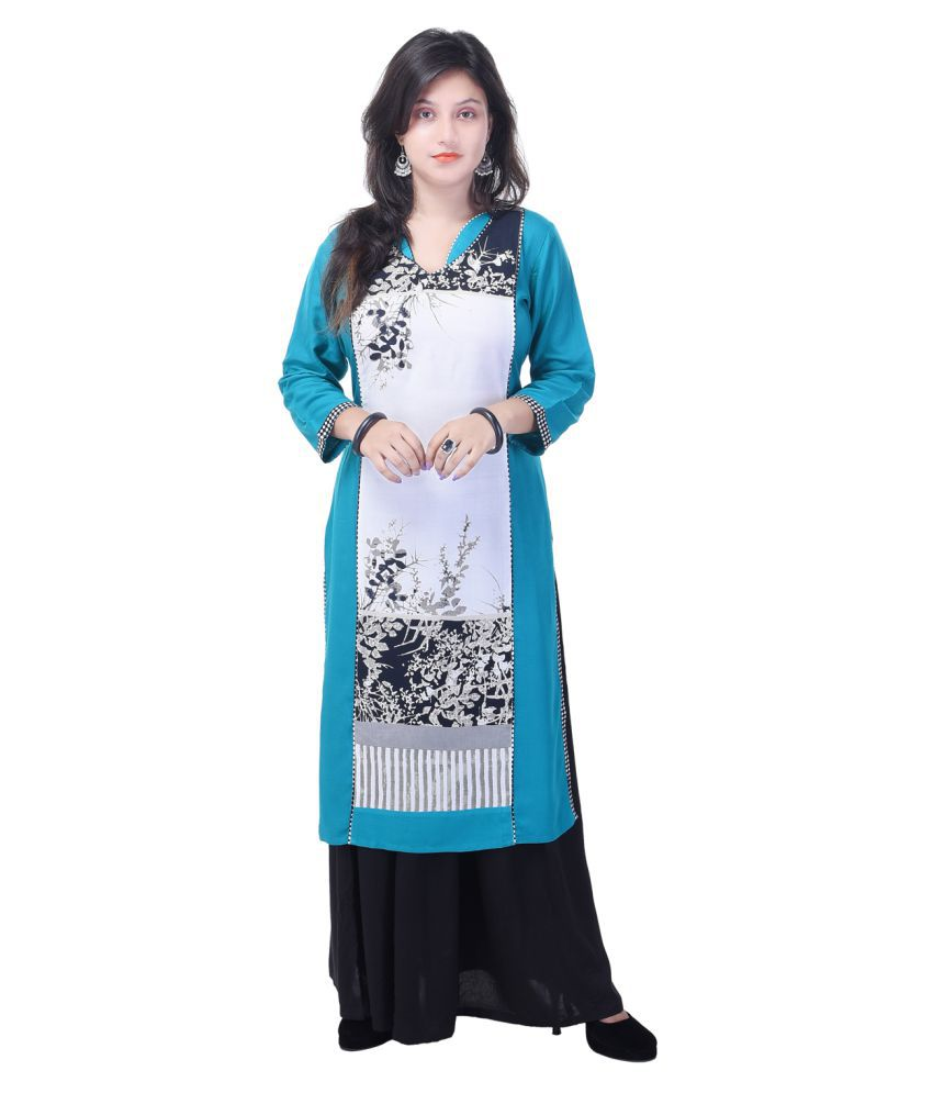 Shopping Station Multicoloured Rayon Straight Stitched Suit