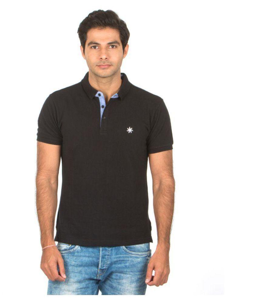 Zeven Black Regular Fit Polo T Shirt