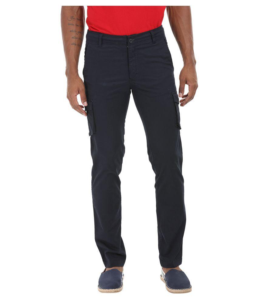 Zobello Navy Blue Regular Flat Trouser