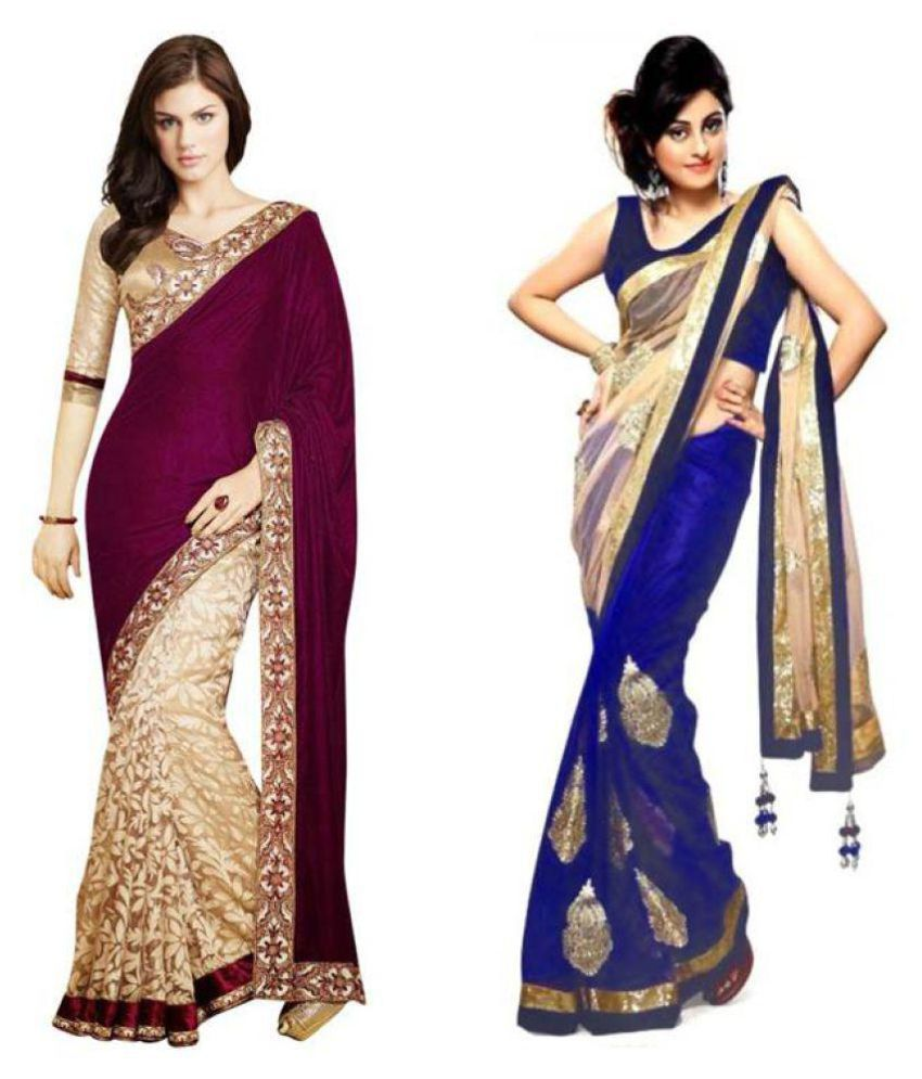 Pay & Smile Multicoloured Velvet Saree Combos