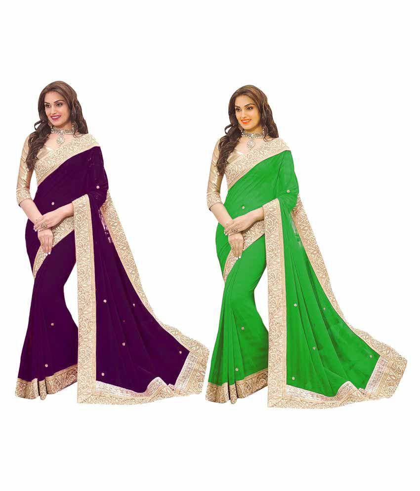 Mahesh Traders Multicoloured Georgette Saree Combos