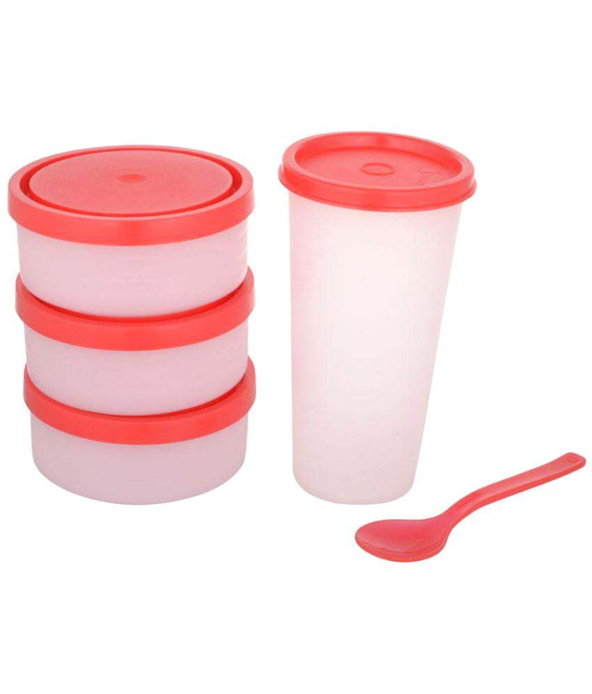Foody Polypropylene (PP) Lunch Box Set, 1500 ml, Red, 6-Pieces (100% leak  proof, food grade, microwave safe)