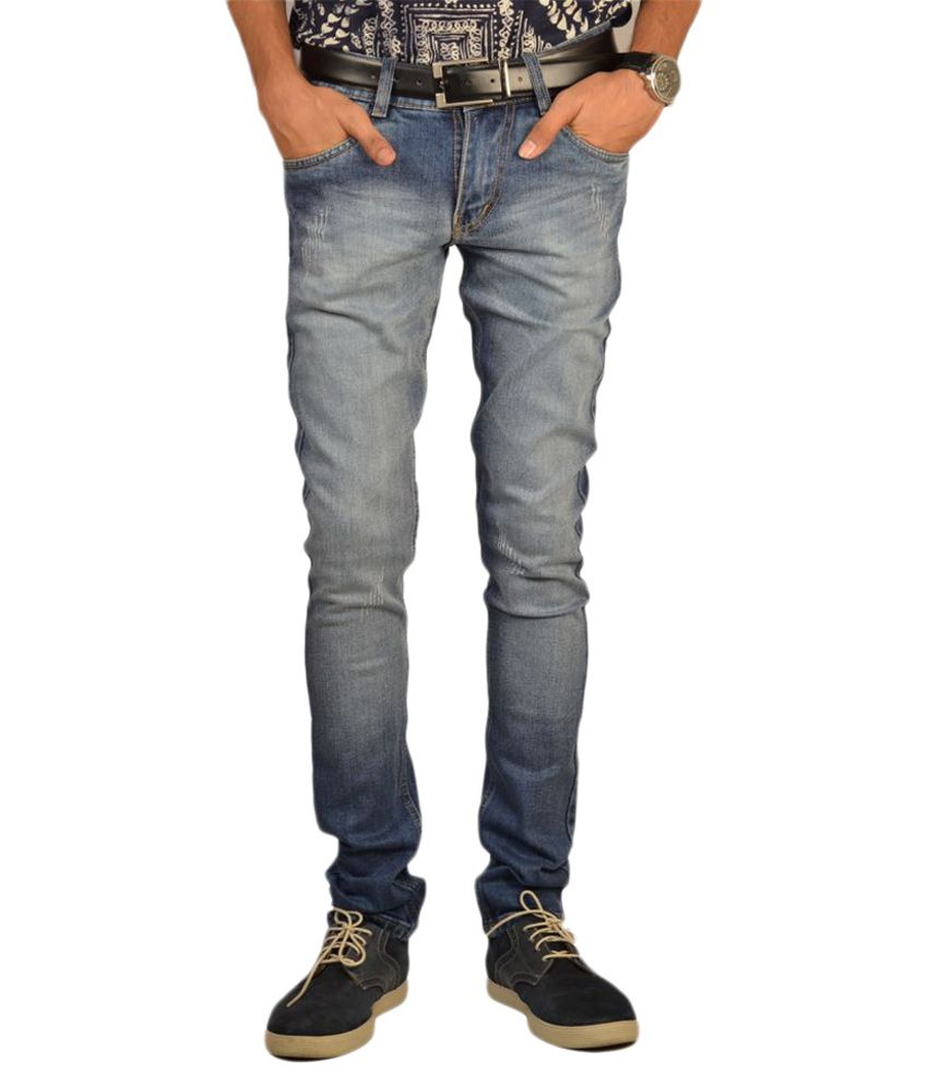 Glam Quotient Blue Slim Faded Jeans