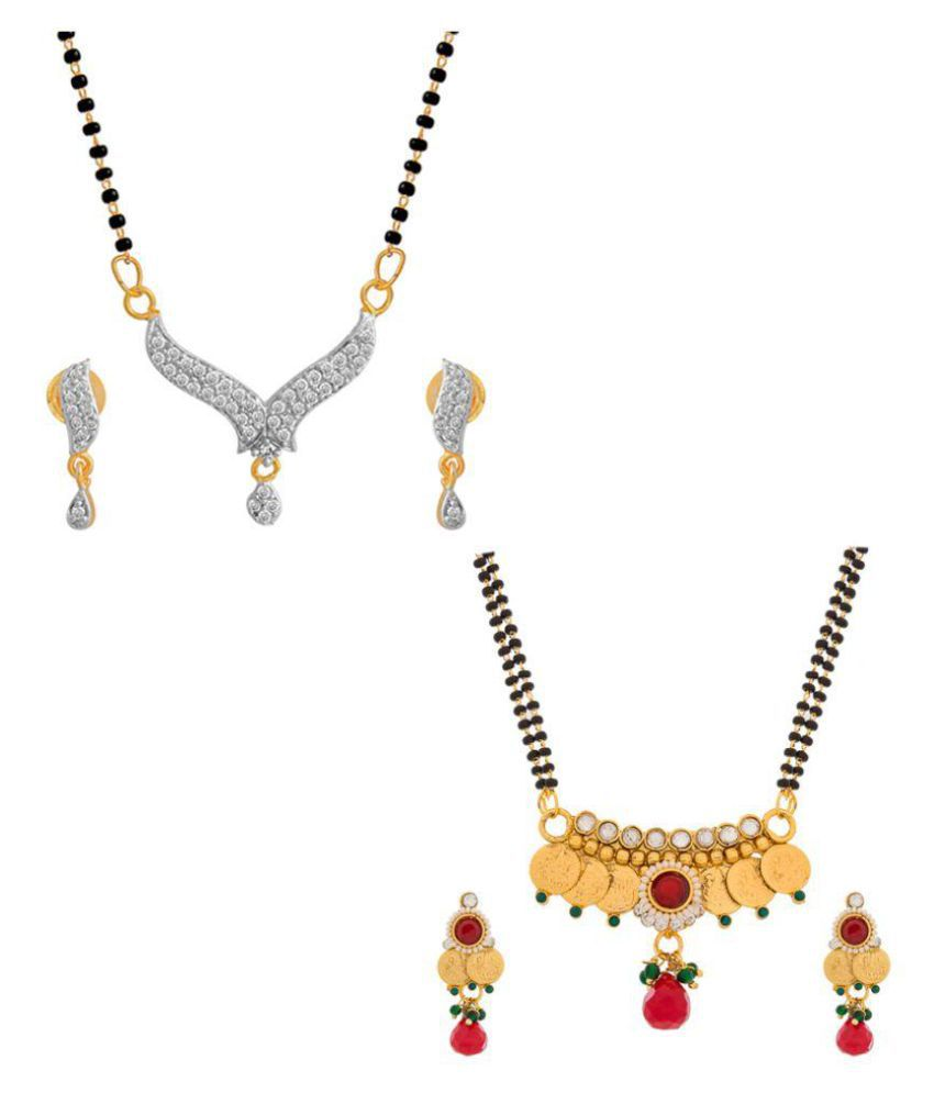 The Luxor Gini & Australian Diamond Studded Daily Wear Mangalsutra SetCombo-2654