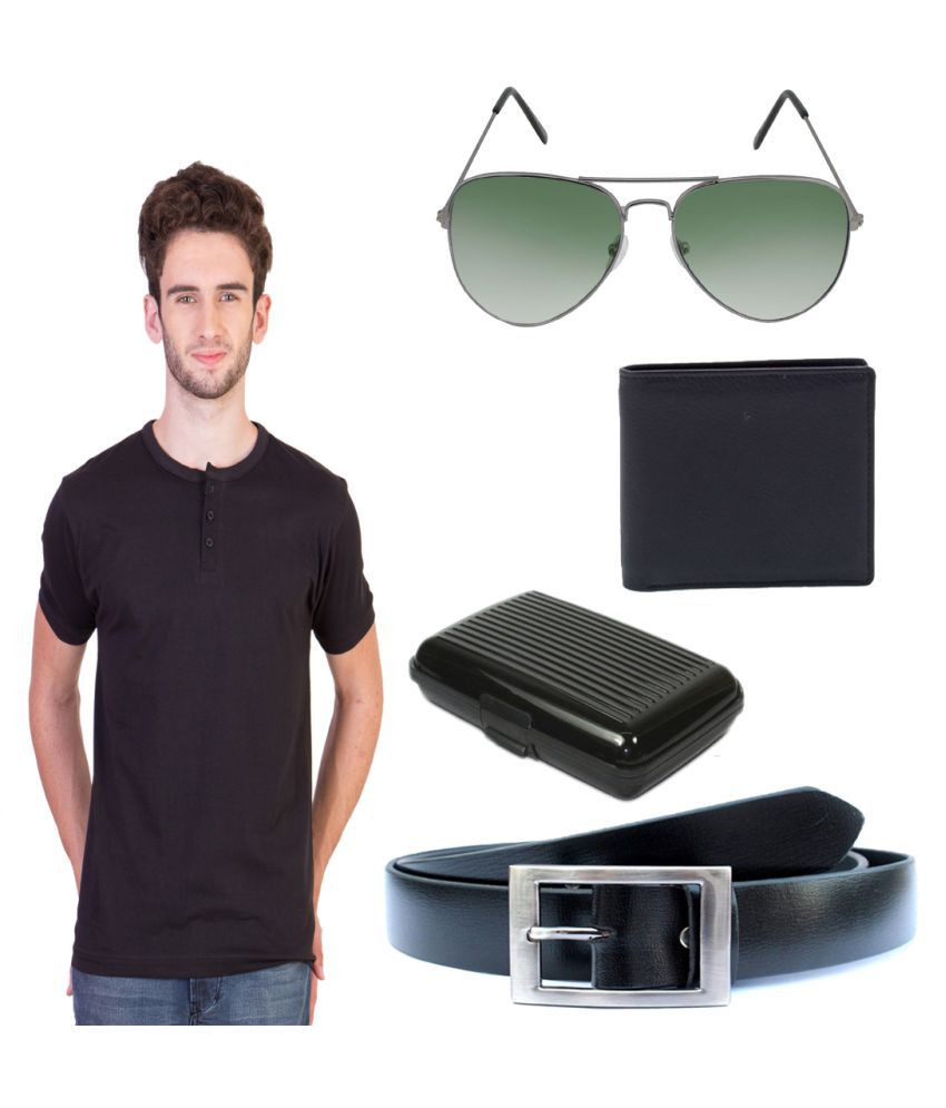 Knightly Fashion Black Henley T-Shirt with Wallet, Belt, Aviator Sunglasses and Cardholder
