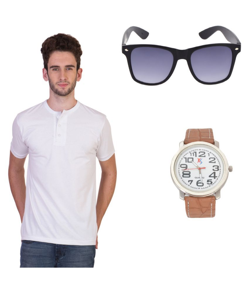 Knightly Fashion White Henley T-Shirt with Watch and Sunglasses