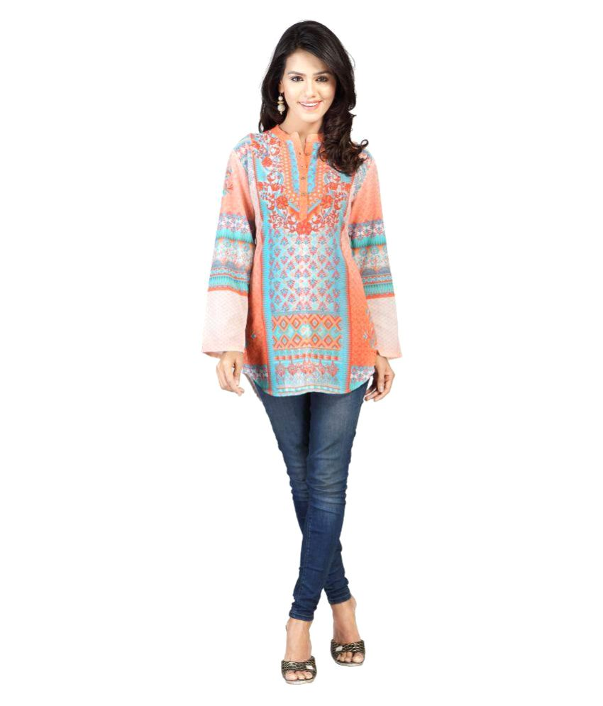 Pagazo Multicoloured Cotton Straight Kurti