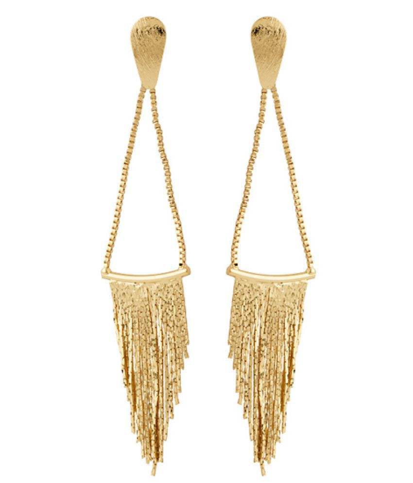 Voylla Golden Chain Dangled Earrings