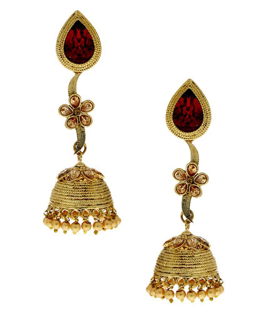 Anuradha Art Cubiz Zirconia Golden Jhumki