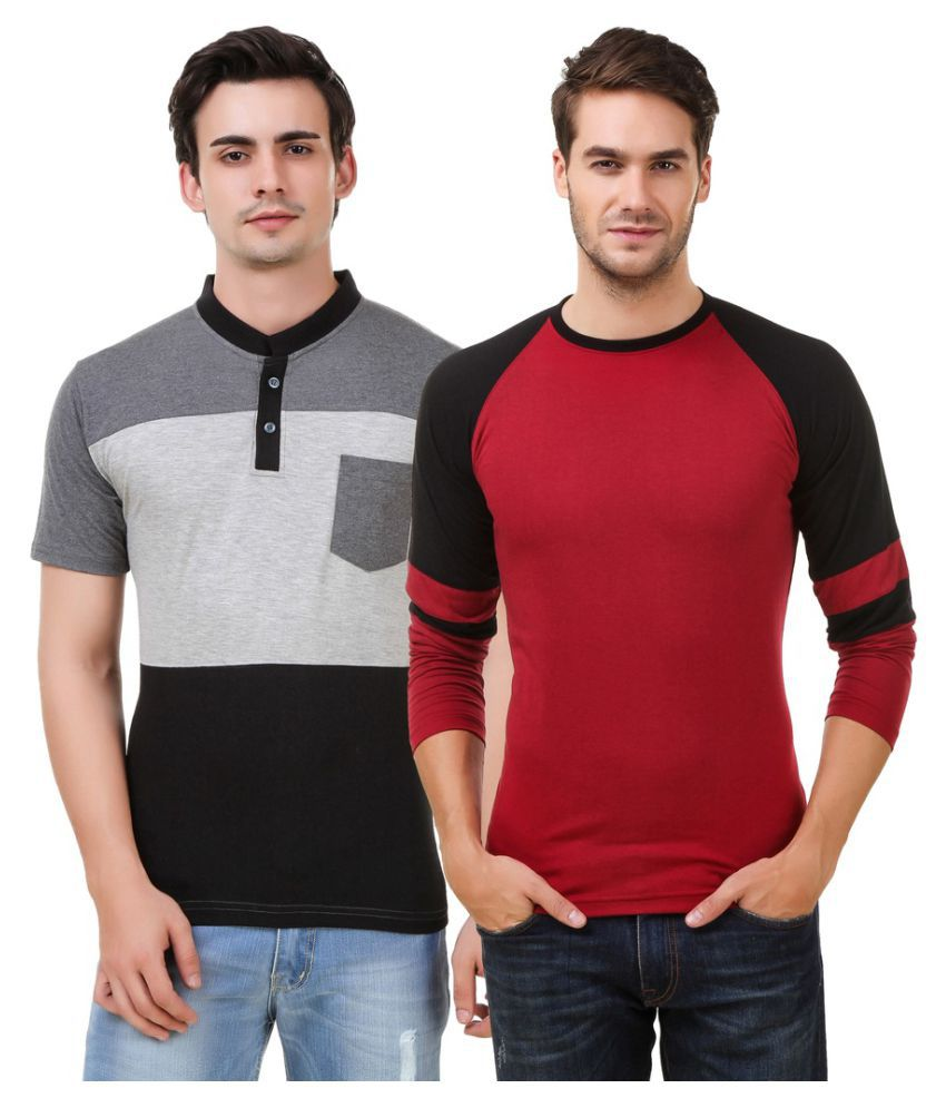 Hue Zephyr Multi Henley T-Shirt Pack of 2
