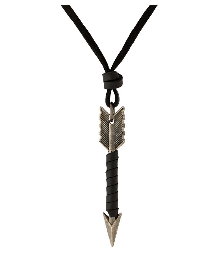 Voylla Silver Arrow Pendant With Leather Chain