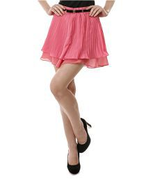 Aeom Couture Pink Satin A-Line Skirt