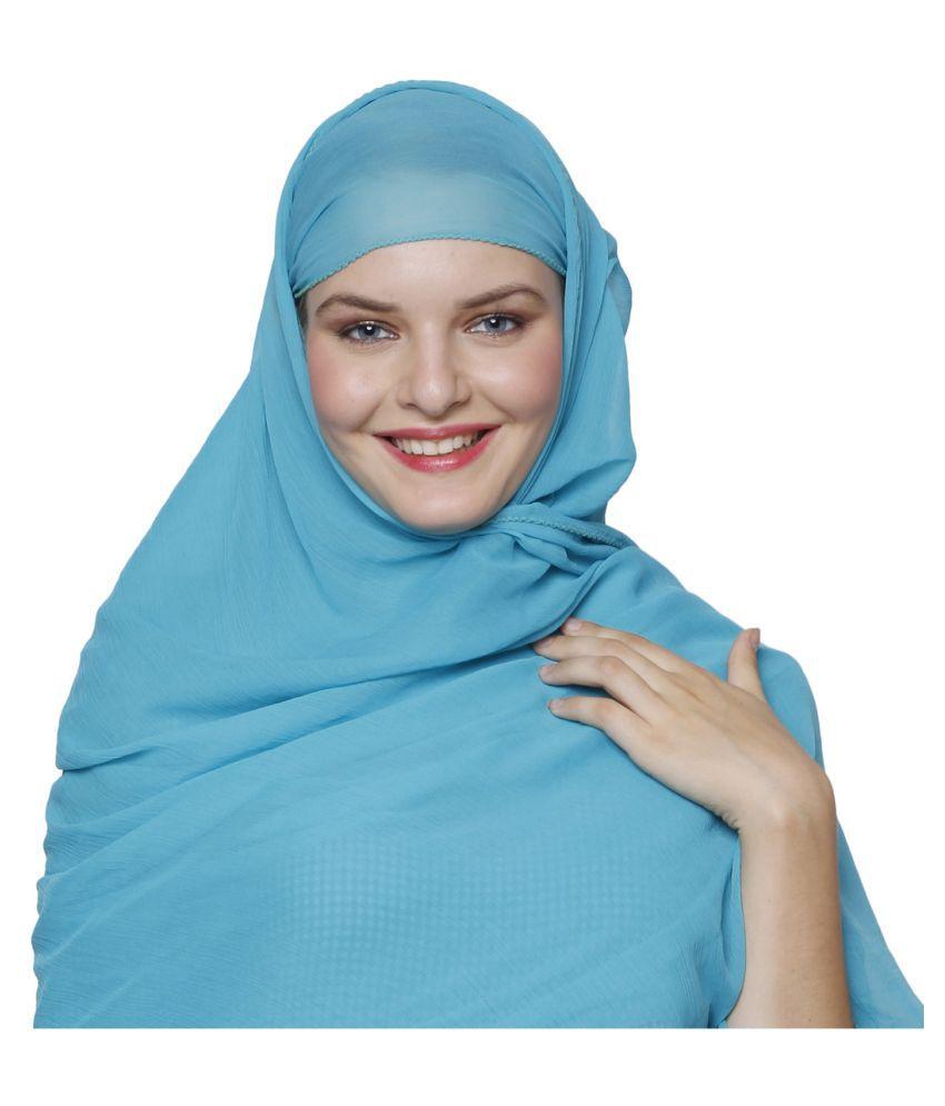Momin Libas Blue Chiffon Stitched Hijabs