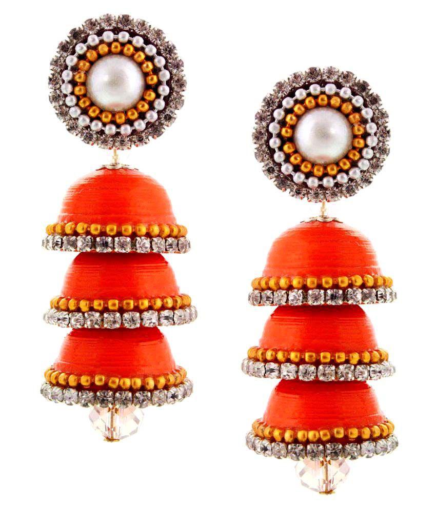 Pioneerpragati Orange Jhumki Earrings