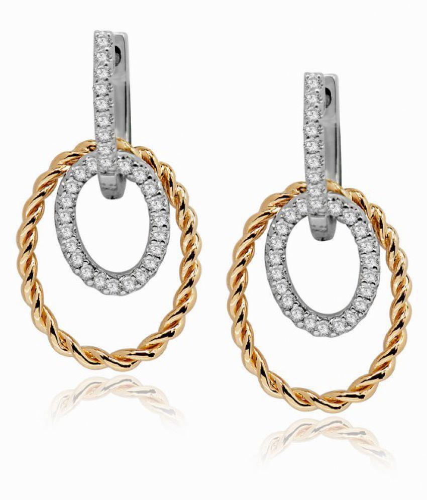 ATJewel 18k BIS Hallmarked Yellow Gold Diamond Hoop
