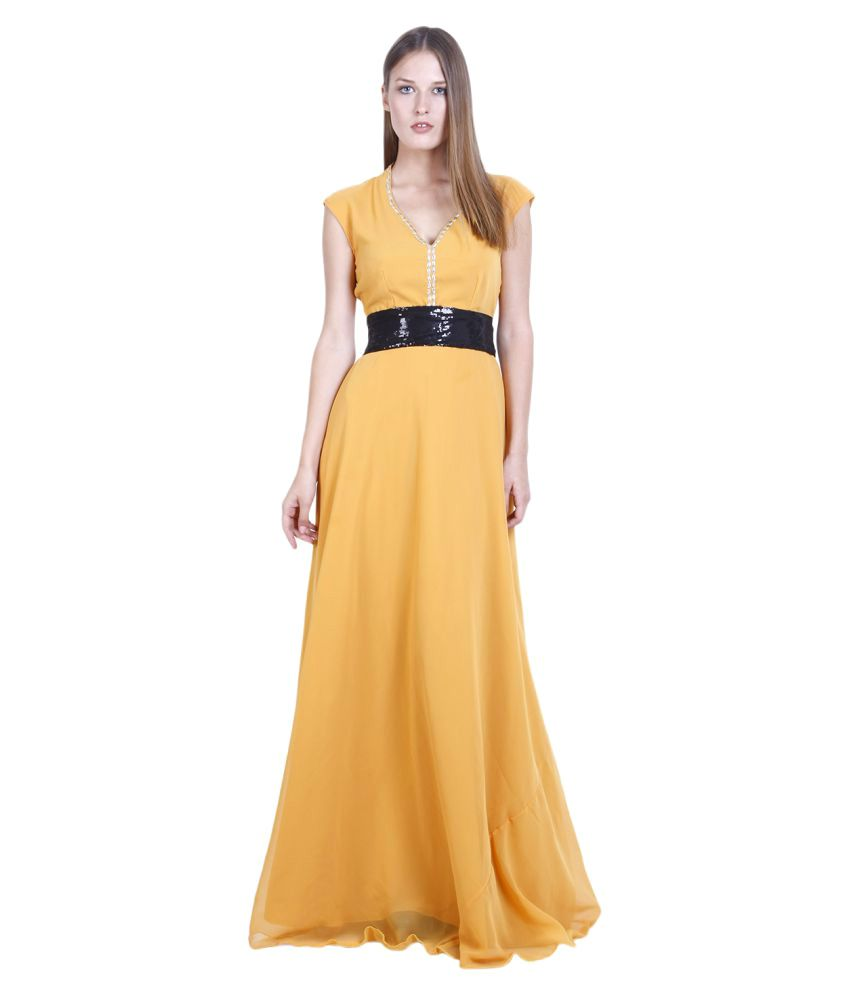 D&S Yellow Georgette Gown