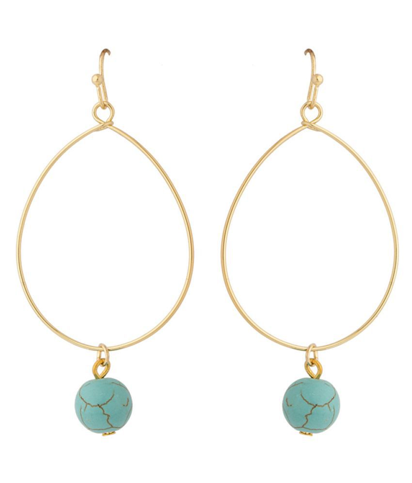 Voylla Golden Hanging Earrings Single Pair