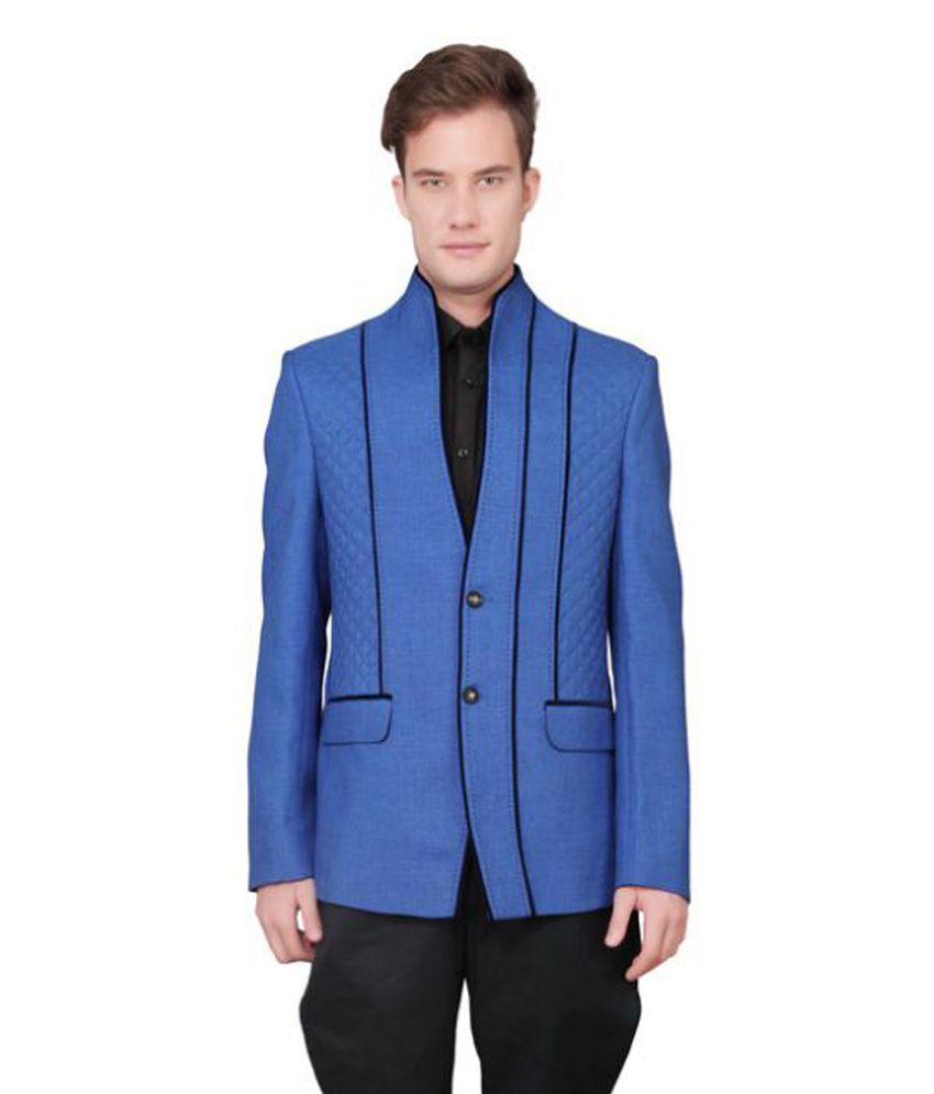 Ajay Arvindbhai Khatri Blue Solid Party Blazers