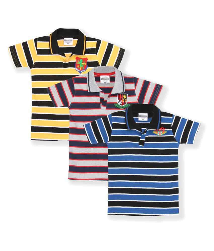 TONYBOY Boys Trendy Striped T-Shirt (Pack Of 3)