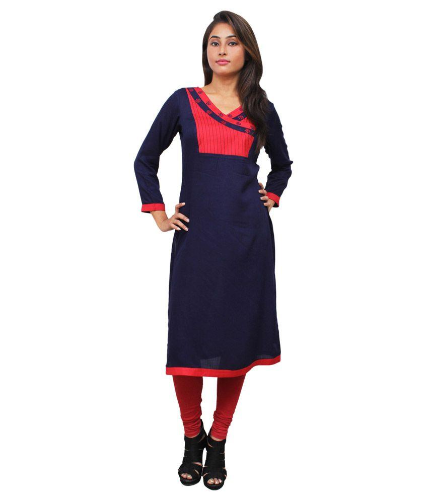 Harshaya G Blue Rayon Straight Kurti