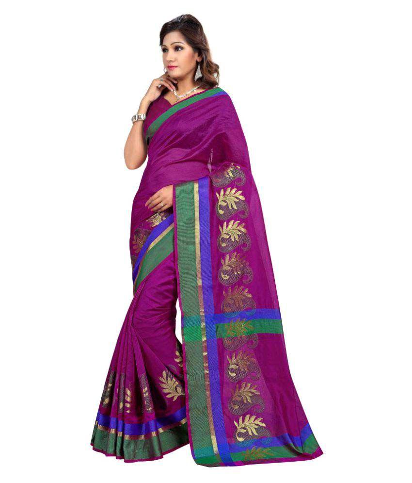 Ativha Saree Purple Cotton Silk Saree